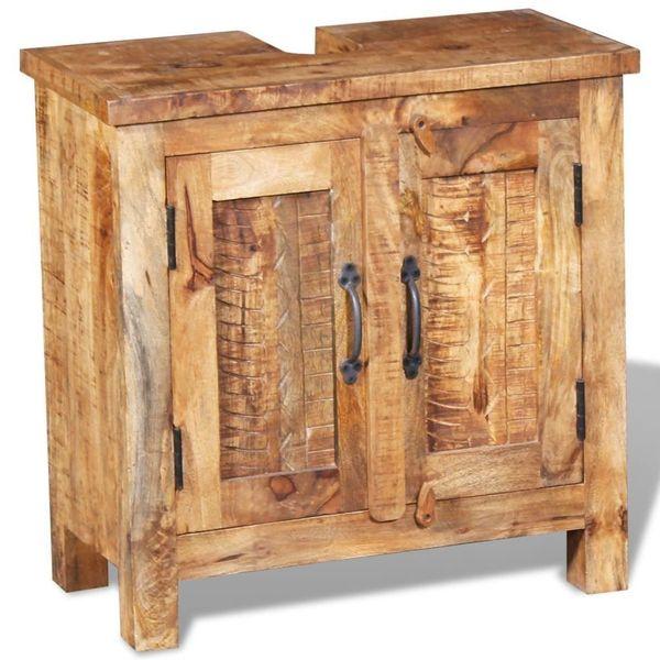 Szafka Do łazienki Pod Umywalkę Drewniana Drewno Mango Z Lustrem