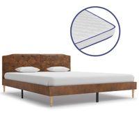 Łóżko Z Materacem Memory, Sztuczna Skóra Zamszowa, 160 X 200 Cm