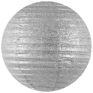 Lampion papierowy, srebrny brokatowy, 45 cm