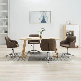 Obrotowe krzesła do jadalni, 4 szt., brązowe, tkanina