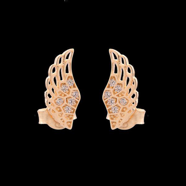 Złote Kolczyki Sztyfty Skrzydła Anioła Cyrkonie zdjęcie 5
