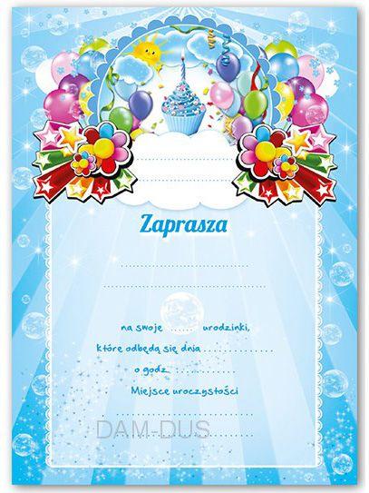Zaproszenia Na Urodziny Dla Chłopca Wzór Baloniki Arenapl