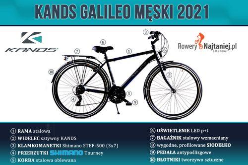 """ROWER 28"""" KANDS GALILEO MĘSKI CZARNO-BIAŁY RAMA 21"""" 2021 na Arena.pl"""