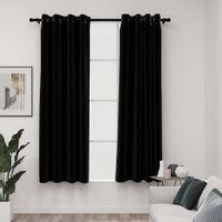 Zasłony stylizowane na lniane, 2 szt., czarne, 140x175 cm