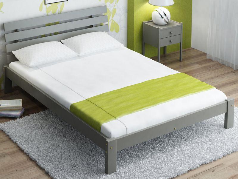łóżko Szare 160x200 Drewniane Wysoki Zagłówek F4 Magnat