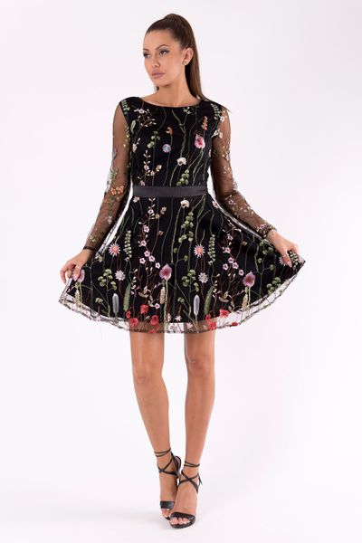 6adb43c4b1 Sukienka w kwiaty z długim rękawem z siateczki - czarna Rozmiar - S zdjęcie  3