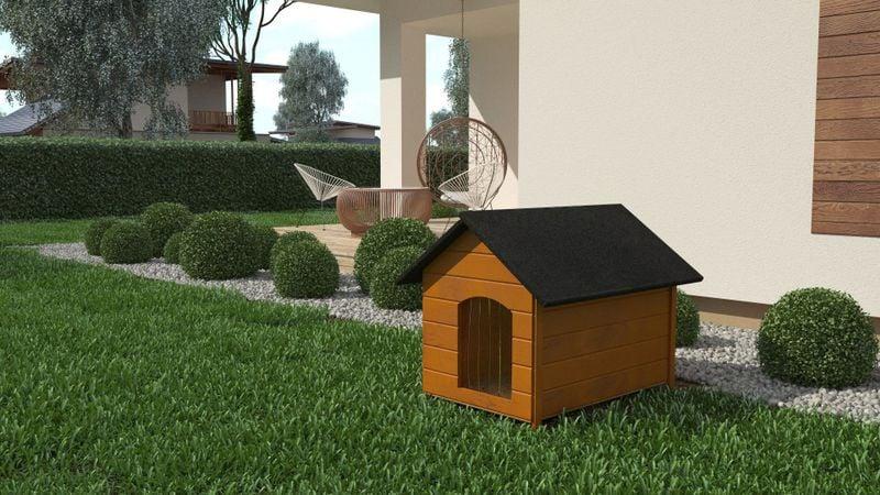 Różne kolory drewniana ocieplana buda dla psa XL solidna 60KG +kurtyna zdjęcie 7