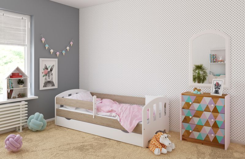 Łóżko FIFI 140x80 + szuflada + barierka zabezpieczająca + MATERAC zdjęcie 5