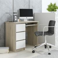 Biurko komputerowe nowoczesne Dąb Sonoma/Białe fronty
