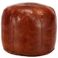 Puf, brąz tan, 40x35 cm, prawdziwa kozia skóra