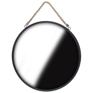 Lustro okrągłe na sznurku pasku 41cm czarne LOFT