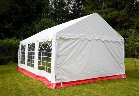 Pawilon namiot handlowy namiot ogrodowy 4x6m - stalowy biało-czerwony