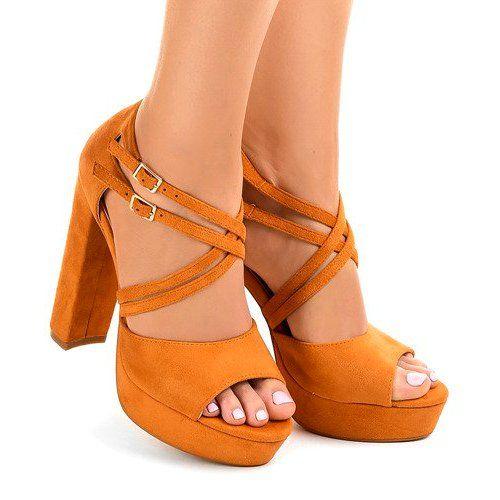 Pomarańczowe sandały na słupku zamszowe r.39 zdjęcie 2