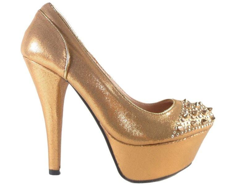 Buty na platformie z kolcami złote czółenka 39 zdjęcie 1