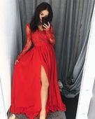 Długa Sukienka LUNA koronkowa - Czerwony M (38)
