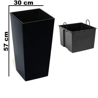 Doniczka wysoka z wkładem połysk Czarny H 570 mm