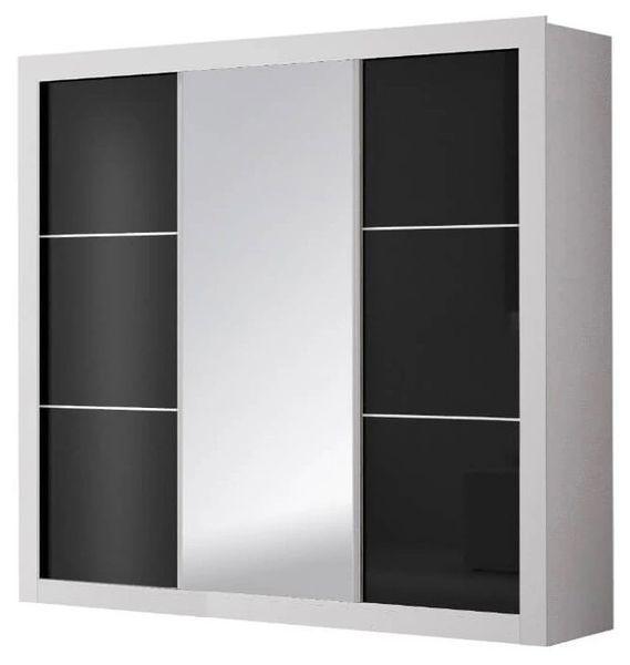 Szafa przesuwna Garderoba 250cm ROMI ID - Biały Czarny połysk + Lustro zdjęcie 1
