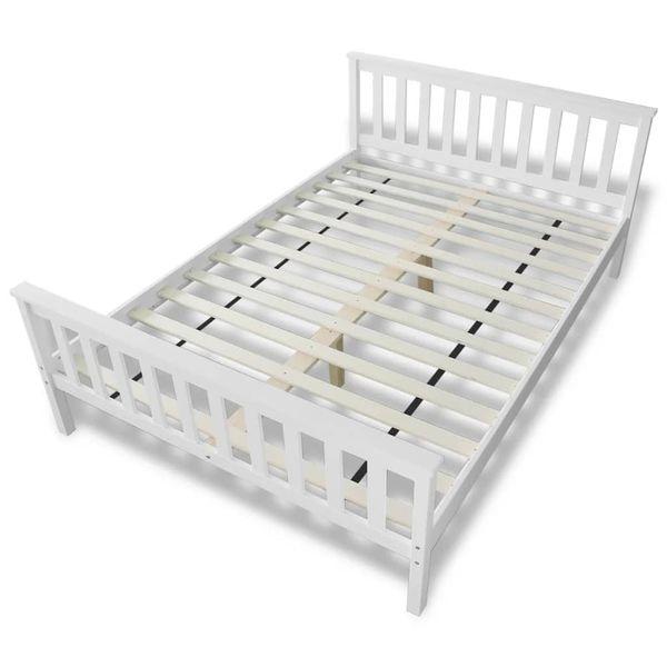 Łóżko z materacem z pianką memory, 140x200 cm, sosnowe, białe zdjęcie 7