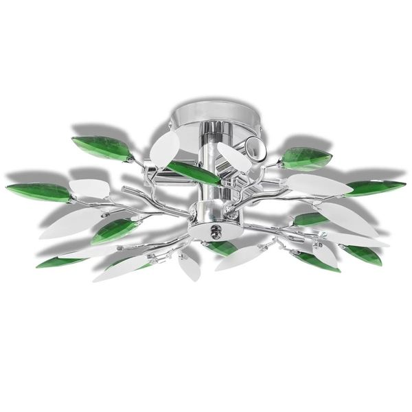 Lampa sufitowa, plafon, białe i zielone listki 3 żarówki E14 zdjęcie 2