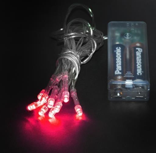 Lampki 10 LED na baterie - czerwony zdjęcie 2