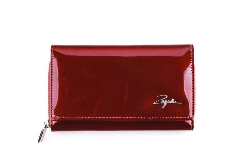 Mały portfel skórzany damski Zagatto czerwony liście RFID ZG-113 Leaf zdjęcie 4