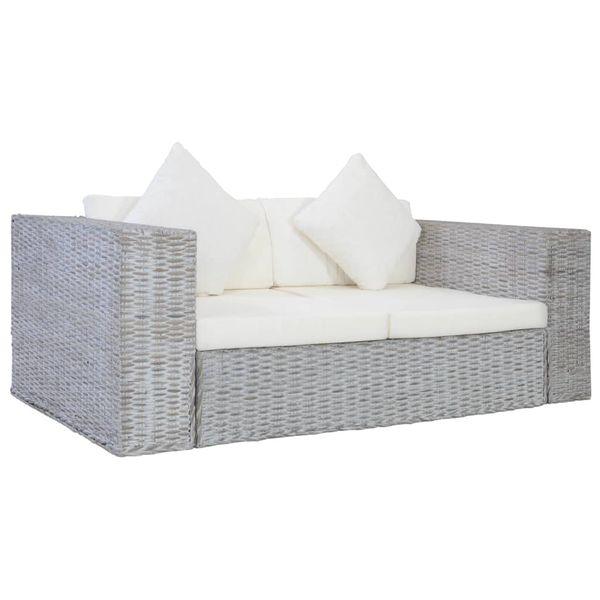 2-osobowa sofa z poduszkami, szara, naturalny rattan na Arena.pl