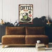 Wydruk na metalu, Retro – kawa coffee shop 40x60 zdjęcie 3