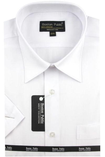Koszula Męska Boston Public gładka biała na krótki rękaw K541 S 38 170/176 zdjęcie 1
