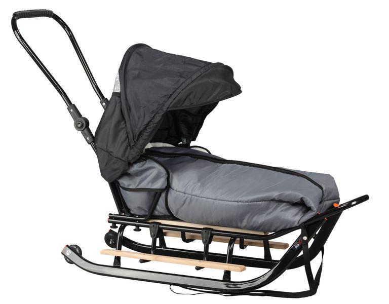SANKI dla dzieci z budką (czarne) +śpiwór + pchacz + podnóżki + kółka zdjęcie 5