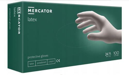 Rękawice lateksowe jednorazowe MERCATOR latex pudrowane rozm.M na Arena.pl