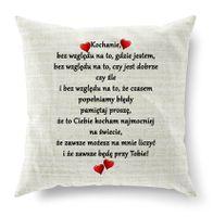 Poduszka ecru- nadruk Kochanie bez względu na wszystko