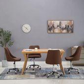 Krzesła Stołowe, 4 Szt., Brązowe, Tkanina zdjęcie 1