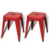 Stołki metalowe, 2 szt., sztaplowane, czerwone