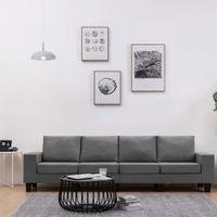 4-osobowa sofa, ciemnoszara, tapicerowana tkaniną