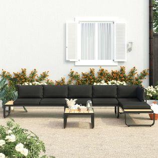 VidaXL 4-cz., narożny zestaw wypoczynkowy, poduszki, aluminium i WPC