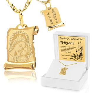Złoty komplet 585 MEDALIK PREZENT na ŚWIĘTA KOMUNIA GRAWER