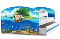 Łóżko łóżka Luki pojedyncze 160x80 dla dzieci + SZUFLADA + BARIERKA