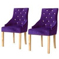 Krzesła stołowe, 2 szt., fioletowe, drewno dębowe i aksamit