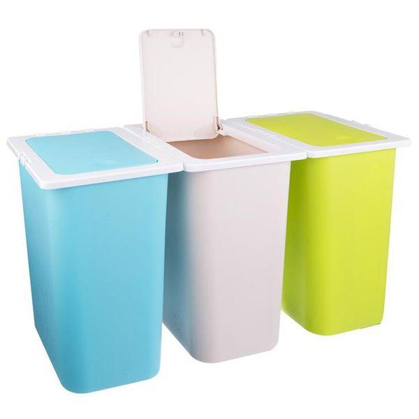 Kosz na odpady śmieci do segregacji POTRÓJNY 3x13L zdjęcie 1