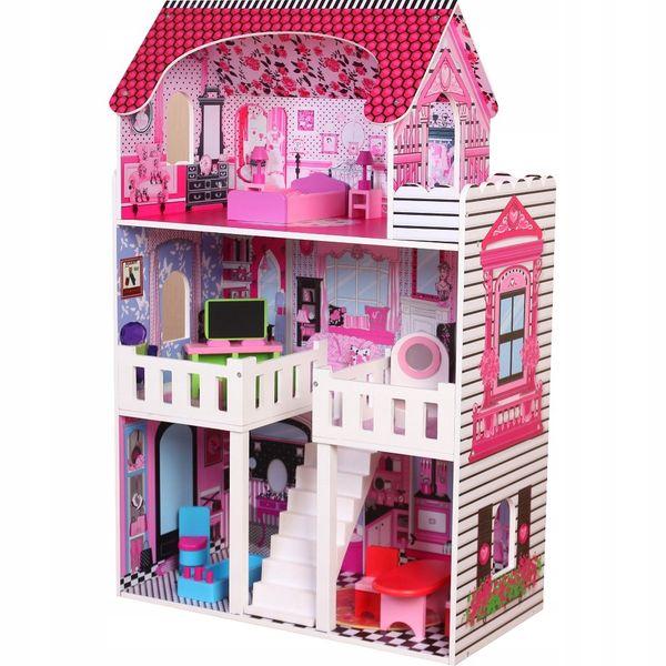 duży 3 piętrowy drewniany domek dla lalek barbie zdjęcie 2
