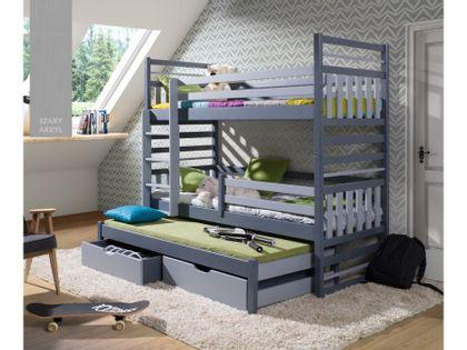 Łóżko piętrowe LOMAMI 180x80 szare