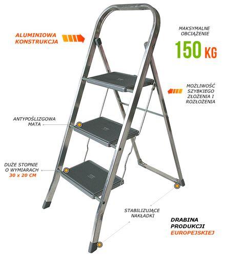 Drabinka 3-stopniowa aluminiowa składana biurowa 3223 na Arena.pl