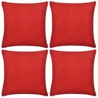 4 Czerwone bawełniane poszewki na poduszki 80x80cm VidaXL