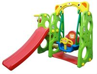 Plac zabaw 3w1 Zjeżdżalnia + Huśtawka + Koszykówka + Ścianka wspinaczkowa Kolor - Zielony