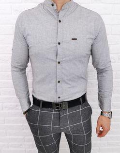 Szara koszula ze stojka pionowe przeszycia 0207/2 - M