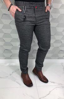 Eleganckie meskie spodnie w drobna krate khaki - 32