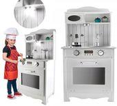 Kuchnia Drewniana Dla Dzieci z Oświetleniem + metalowe garnki U31G zdjęcie 4