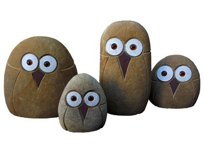 Kamienne sowy zestaw 4 sztuki