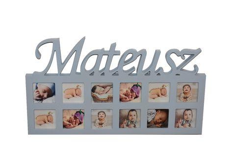 Multiramka drewniana ramka na zdjęcia z napisem imię dziecka