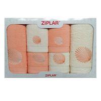 KOMPLET ręczników 6 szt. ZIPLAR morela/ekri